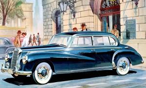 Zeichnung aus dem Prospekt von 1956. Mercedes-Benz Typ 300 c Limousine, 1955-57