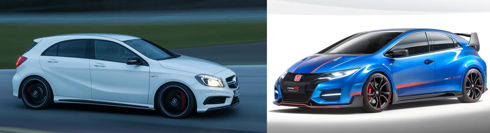 Mercedes A 45 AMG vs Honda Civic Type R - 2014 Paris Motorshow - Mercedesblog 1