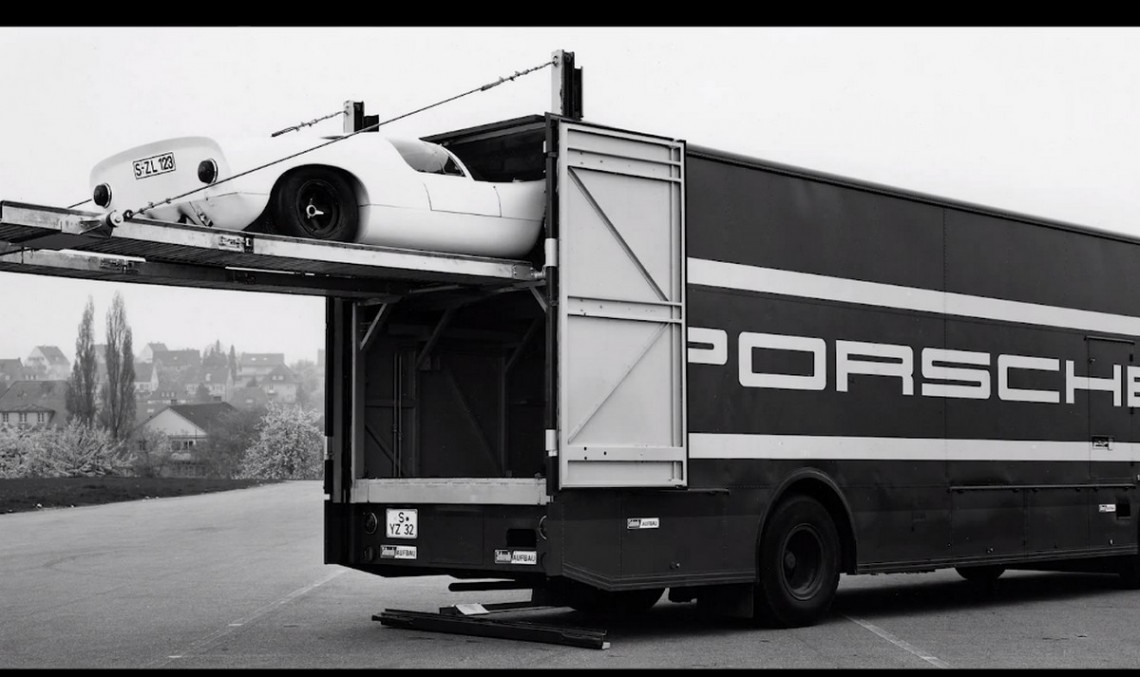 Mercedes designed a racecar transporter for Porsche, back in the '60s. VIDEO