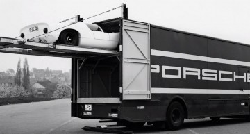 Mercedes designed a racecar transporter for Porsche, back in the '60s. VIDEO