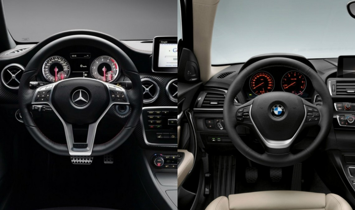 static comparison mercedes benz a class vs bmw 1 series facelift mercedesblog. Black Bedroom Furniture Sets. Home Design Ideas