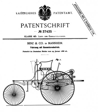 Patent certificate from 1886
