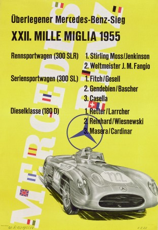 Mercedes-Benz victory poster for the 1995 Mille Miglia by Anton Stankowski,
