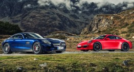 World-first Mercedes-AMG GT S vs Porsche 911 GTS comparison