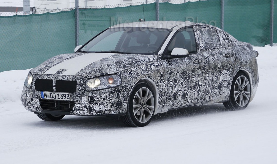 CLA rival BMW 1-Series Sedan caught testing in the Arctics