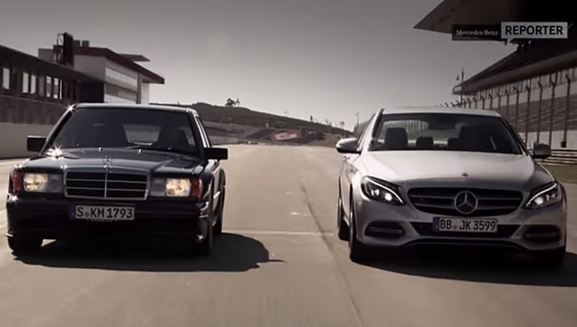 Video: Mercedes-Benz 190 E 2.5 16V Evolution II vs. C 350 e