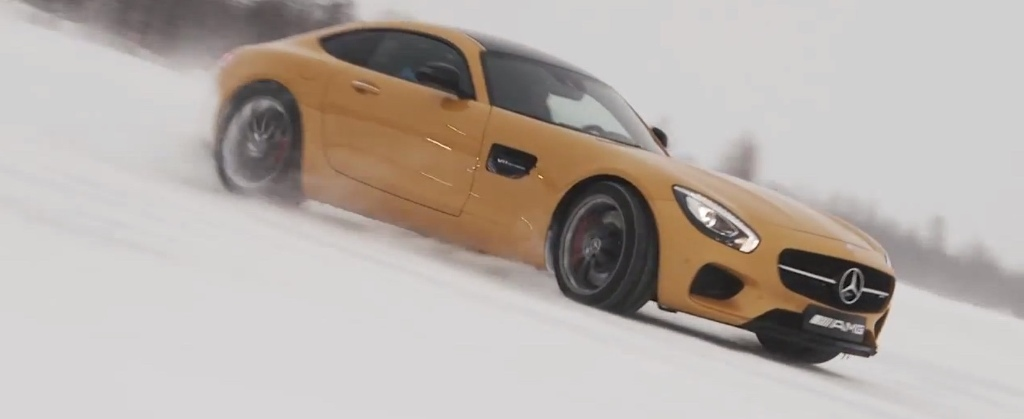 Mikko Hirvonen, drifting the Mercedes-AMG GT S on a Frozen Lake