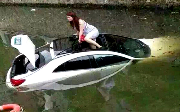 She parked her Mercedes in a river