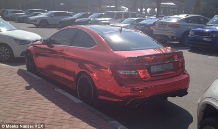 C 63 AMG metalic red Dubai