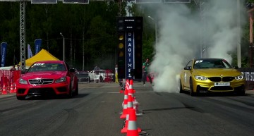 The classic German trio battle it out on the drag strip