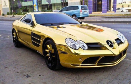 Gold Mercedes SLR McLaren
