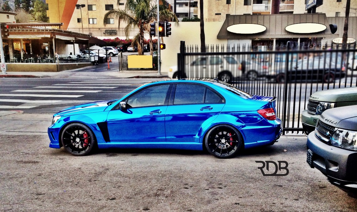 C 63 AMG coming out of the blue in Beverly Hills