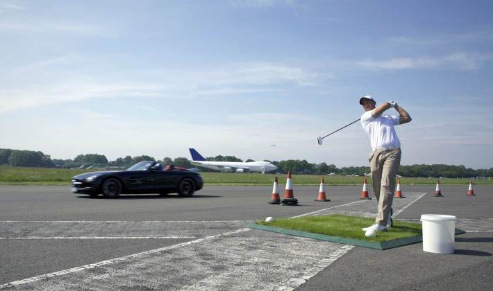 The goofiest world record: catching a golf ball in a Mercedes SLS Roadster