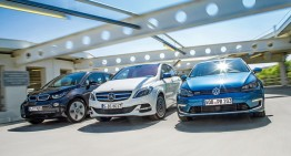 Mercedes B-Class Electric Drive vs BMW i3 and VW e-Golf  in Auto motor und Sport match