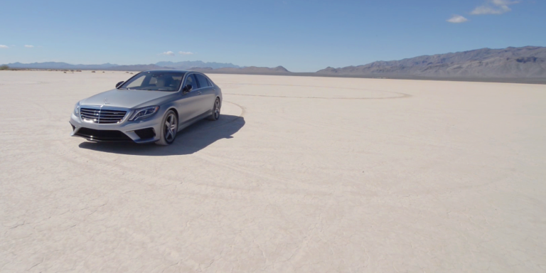 "A Mercedes-AMG S63 on the Bonneville salt ""racetrack"""