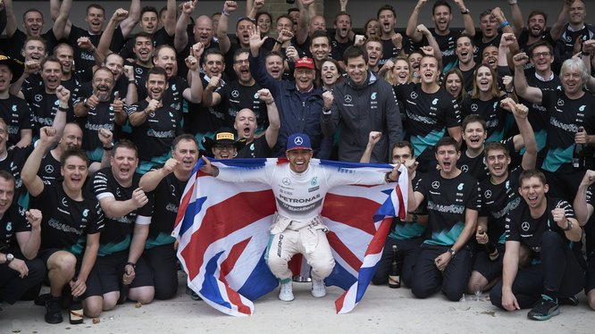 Lewis Hamilton of Mercedes-AMG PETRONAS is the world champion