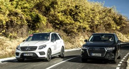 Goliath vs Goliath. 2017 Mercedes GLE 350 d versus the all-new Audi Q7 3.0 TDI