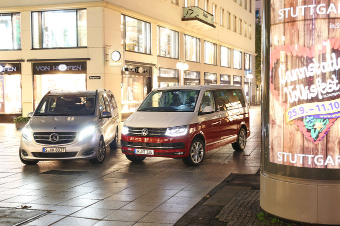 Which is the Bus king? Mercedes V 250 d vs VW Multivan 2.0 TDI comparison by auto und motor und sport