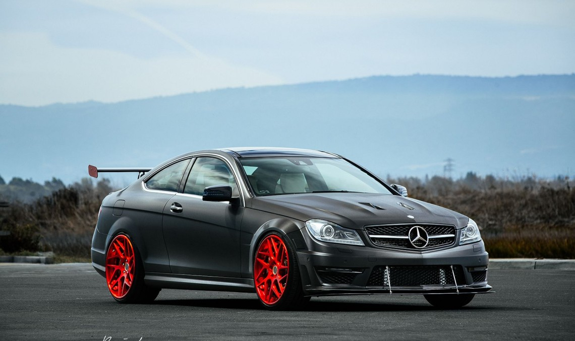 Red and bad! The Mercedes-Benz C63 AMG with Brixton Forged Wheels