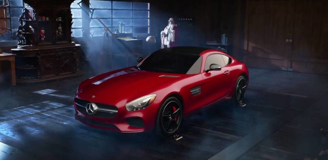 Petrolhead santa claus ditches the sleigh for the mercedes for Mercedes benz winter event commercial