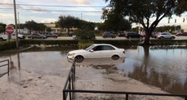 Car overboard! Mercedes caught up by flood caused by broken pipe