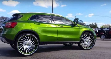 Apple green Mercedes-Benz GLA gets 26-inch Forgiato wheels for the hip hop videos