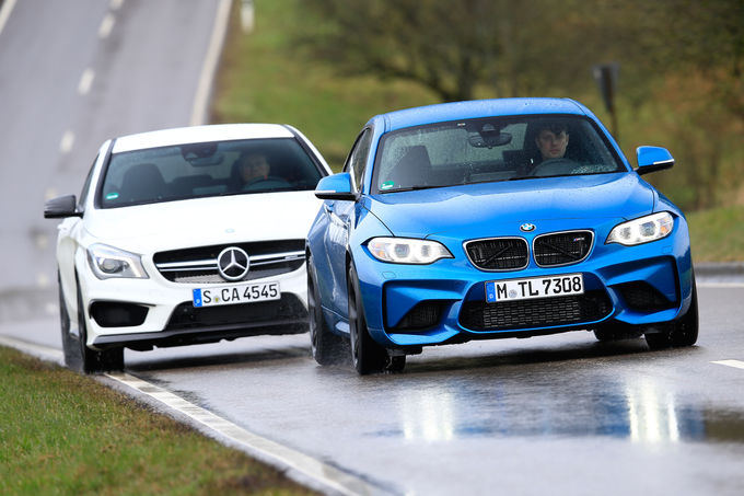 test mercedes cla 45 amg vs bmw m2 by sport auto. Black Bedroom Furniture Sets. Home Design Ideas