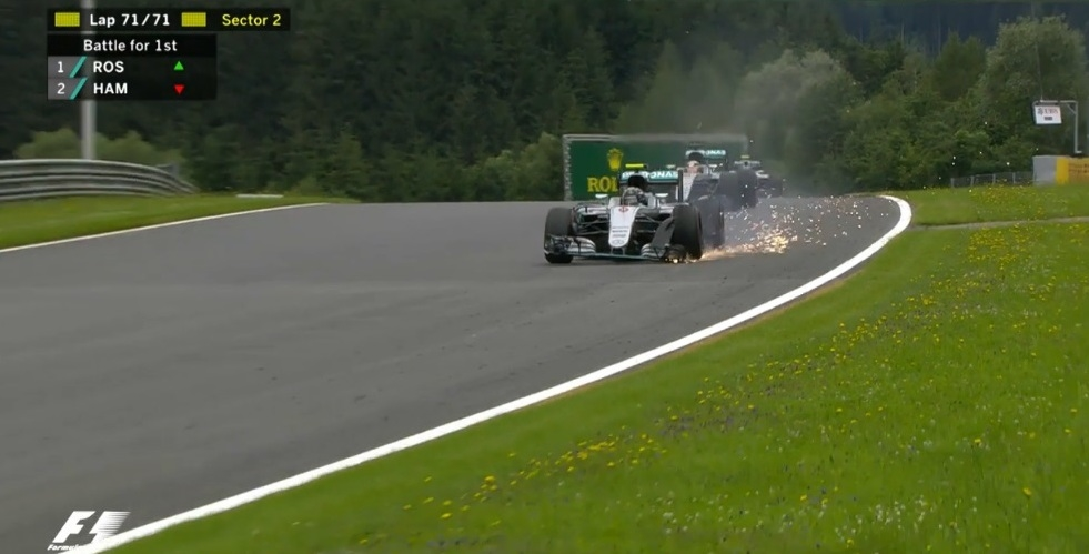 Sparks come out of cars as Hamilton wins the Austrian Grand Prix