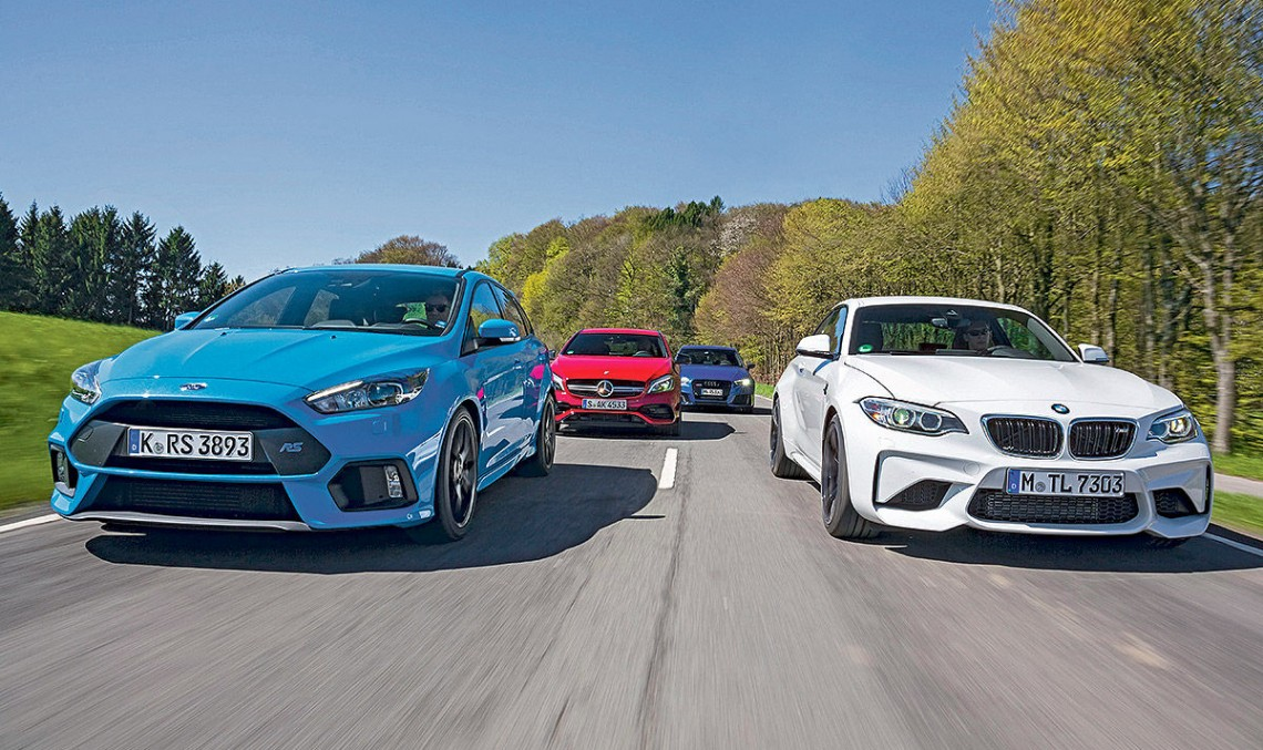 The Hammers! Mercedes A 45 AMG versus Ford Focus RS, BMW M2, Audi RS3