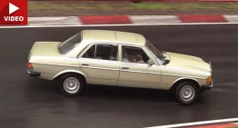Vintage Mercedes W 123 crashes on the Nurburgring