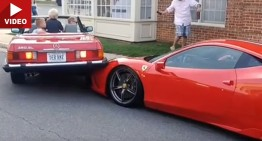 Mercedes SL crushes Ferrari: Woman can't park (video)