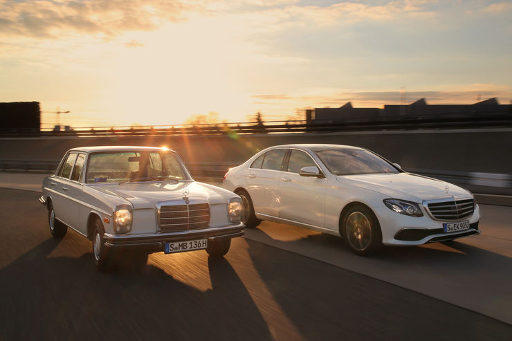 Meet the parents. New Mercedes E-Class versus classic Strich-Acht
