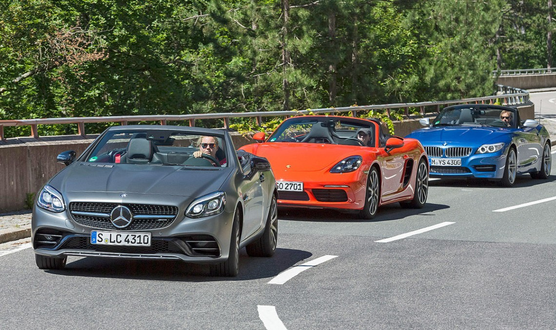Roadster Triathlon: Mercedes-AMG SLC 43 vs BMW Z4, Porsche 718