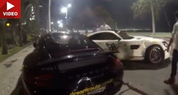 Oops! Mercedes-AMG GT S crashes into Porsche and Ferrari