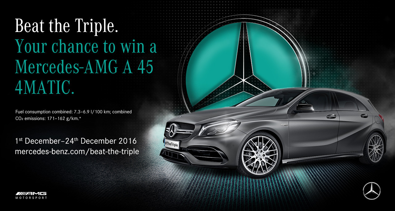 Beat the triple how to win a mercedes amg a 45 4matic for Win a mercedes benz