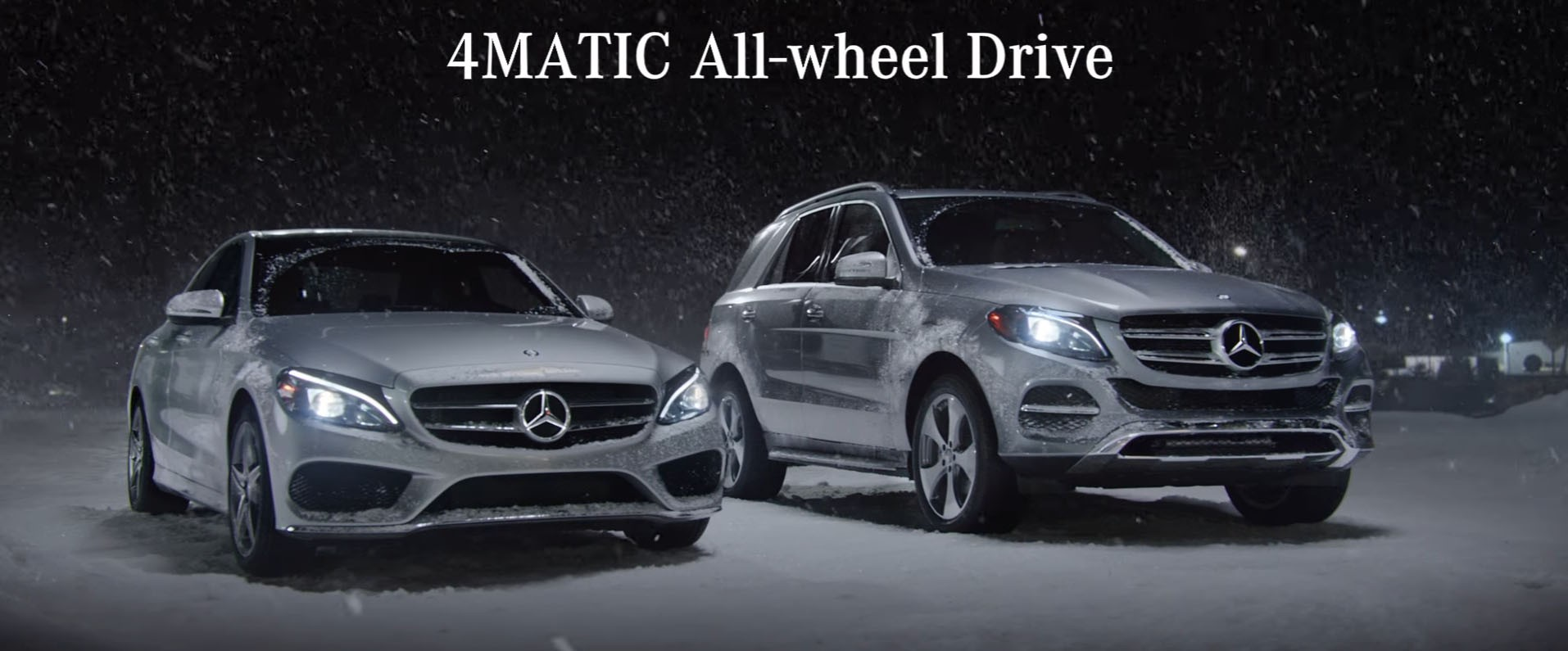 Snow date the 4matic 4 wheel drive will get you there for Mercedes benz winter event commercial