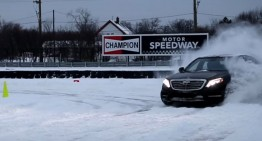 Expect the unexpected: Driver drifts a Mercedes-Benz S-Class 4Matic on snow