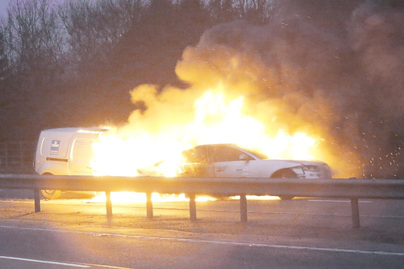 Miracle escape after a Mercedes and an Audi blow up in flames on the highway
