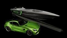 """Die """"Green Hell Magno""""-Lackierung auf dem Boot schafft die Verbindung zum Mercedes-AMG GT R und der legendären """"Nordschleife"""" des Nürburgrings, auf der GT R eine Rundenzeit von 7:10,92 Minuten erreicht hat. Noch nie hat Mercedes-AMG so viel Motorsport-Technologie in ein Serienfahrzeug integriert. ;  The green hell magno paint details on the boat create an connection to the Mercedes-AMG GT R and the""""North Loop"""" of the Nurburgring racetrack where the GT R achieved an awe-inspiring 7:10.92 lap time. Never before has Mercedes-AMG packed so much motorsport technology into a production vehicle.;"""