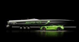 50' Marauder AMG Cigarette Racing boat inspired by the Mercedes-AMG GT R