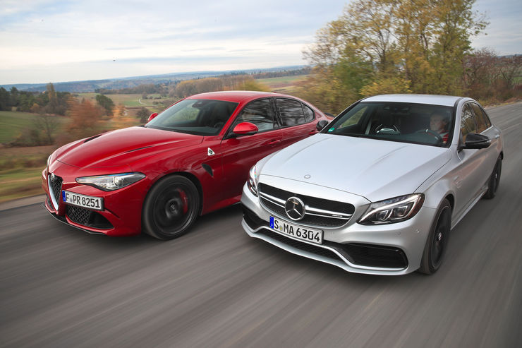 Power duel mercedes amg c 63 s versus alfa romeo giulia for Alfa romeo vs mercedes benz
