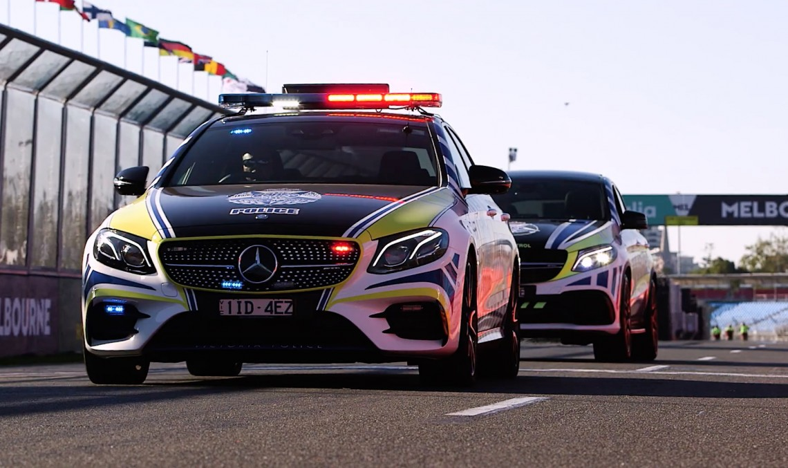 Now that's a car fleet! Australian Police officers drive the Mercedes-AMG E43