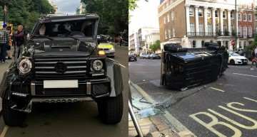 When worlds collide – Brabus G500 4×4² hit by Prius, rolls over