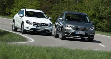 First test: Turbo Mercedes GLA facelift versus BMW X1