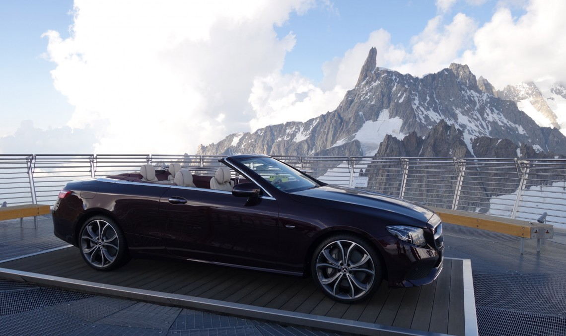 How does an E-Class Cabriolet get on top of the world? By helicopter!