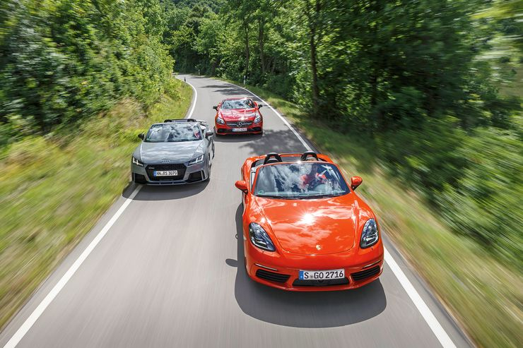 4, 5 or 6 cylinder Roadster? AMG SLC 43 vs. TT RS, 718 Boxster S