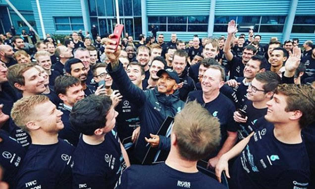 The champion has come home – Lewis Hamilton meets with the team after becoming a 4th time world champion