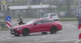 Caught in the act. The Mercedes-AMG GT 4-Door Coupé seen in traffic
