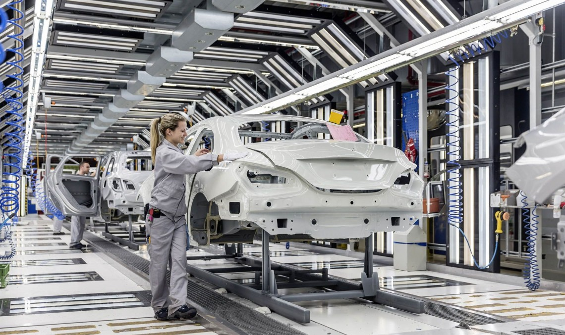 Is this the one? The Mercedes-Benz A-Class Sedan rolling off the assembly line