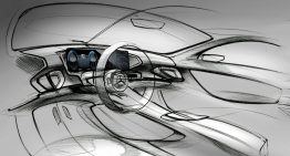 The interior of the Mercedes-Benz GLE interior previewed in sketches